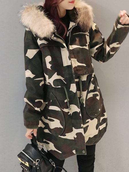 Army Green Hoodie A-line Long Sleeve Parka