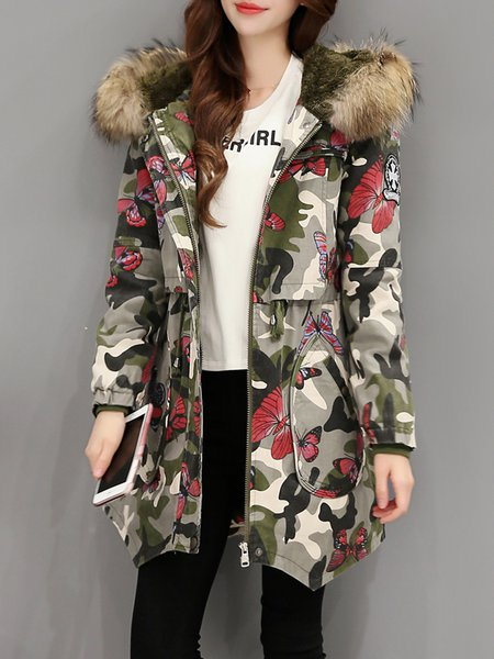 Animal Print Hoodie Long Sleeve Casual Parka