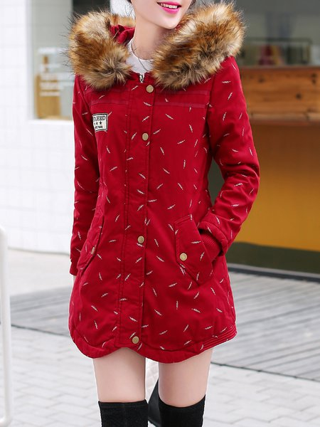 Long Sleeve Casual Cotton-blend Asymmetric Graphic Parka
