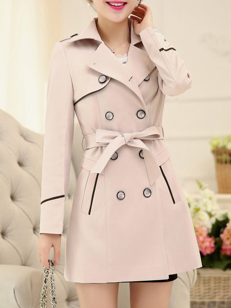 Buttoned Lapel Long Sleeve Solid Trench Coat with Belt