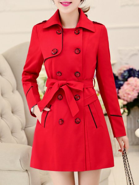 Casual Piping A-line Long Sleeve Solid Trench Coat with Belt