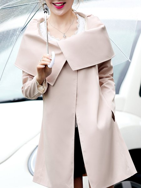 A-line Lapel Elegant Solid Long Sleeve Coat with Belt