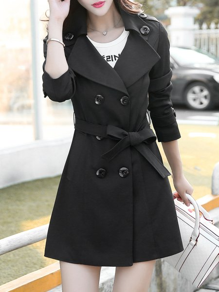 Casual Buttoned Solid Long Sleeve Lapel Trench Coat with Belt
