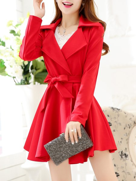 Casual Long Sleeve Ruffled Trench Coat with Belt