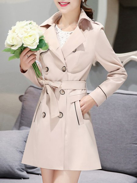 Apricot Long Sleeve Piping Trench Coat with Belt
