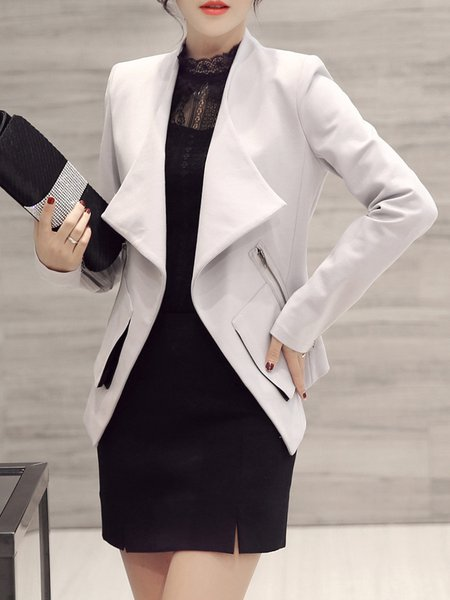 Casual Lapel Zipper Asymmetrical Long Sleeve Coat