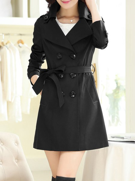 Long Sleeve Buttoned Casual Trench Coat with Belt