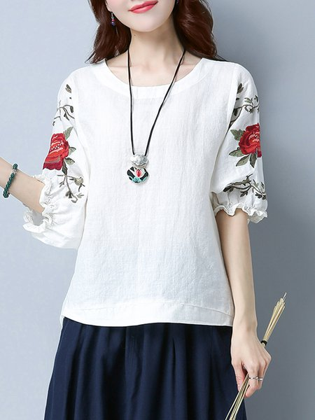 Embroidered Balloon Sleeve Crew Neck Floral T-Shirt