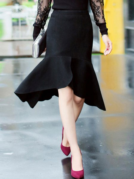 Black Ruffled High Low Elegant Midi Skirt