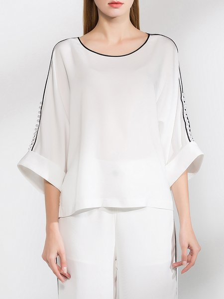 White 3/4 Sleeve Solid Silk Tops