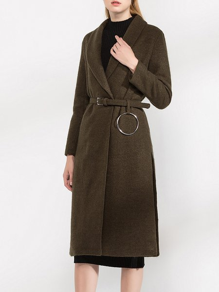 Lapel Elegant Slit Solid A-line Coat