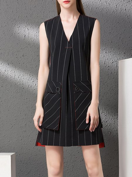 Black Sleeveless Stripes V Neck Mini Dress