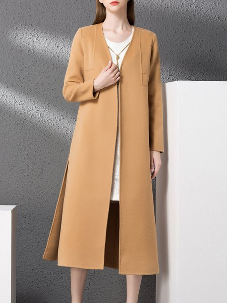 Slit Long Sleeve Plain Simple Wool Coat