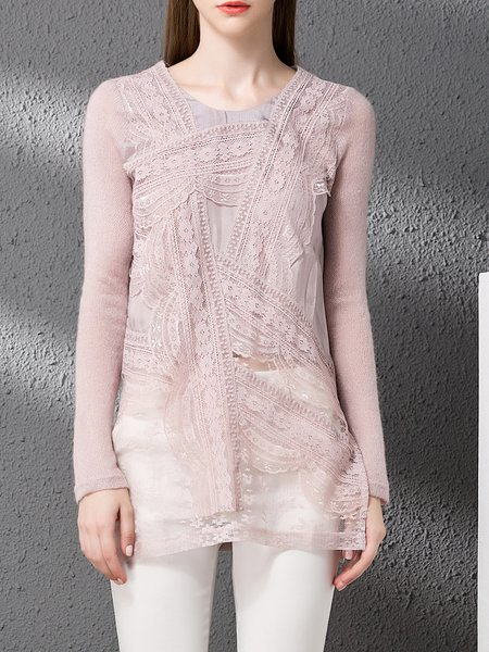 Floral Paneled Crew Neck Statement Long Sleeved Top
