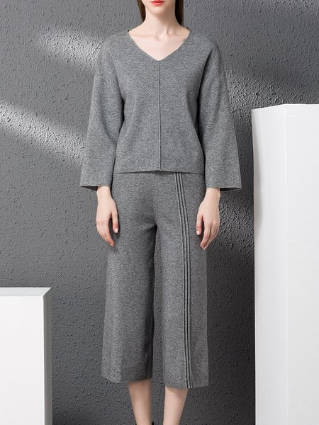 Wool V Neck Simple Knitted Jumpsuit