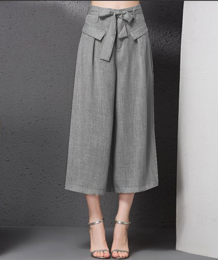 Gray Casual Bow Wide Leg Pants
