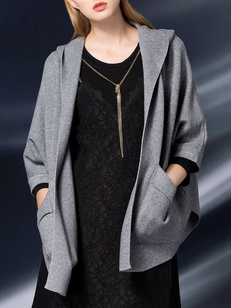 Wool Shift Casual Batwing Pockets Hoodie Cardigan