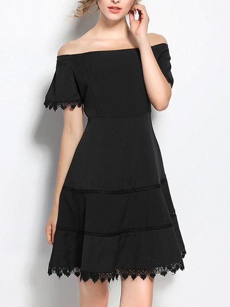 Black Elegant Off-shoulder Lace Fit-and-Flare Dress