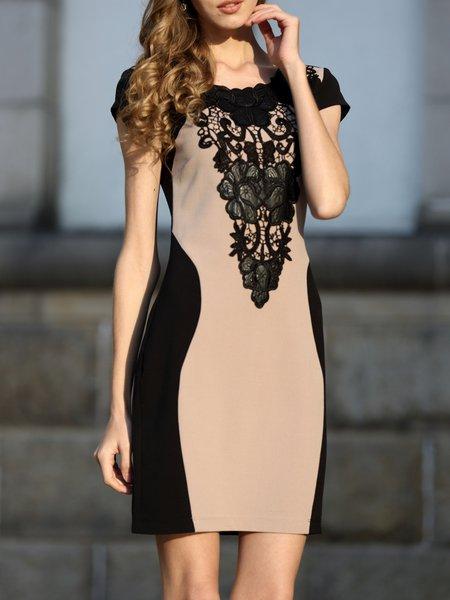 Short Sleeve Sheath Color-block Midi Dress