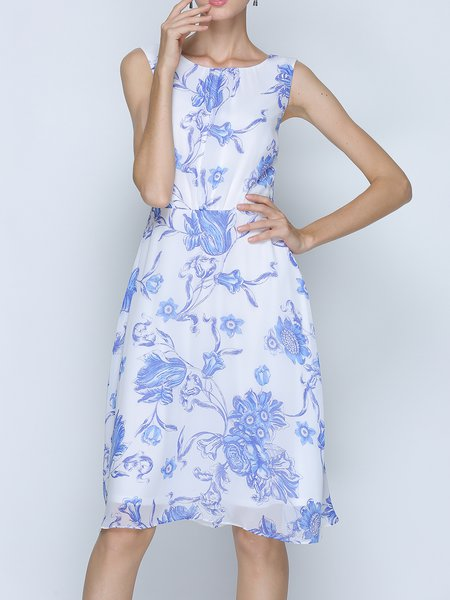 A-line Crew Neck Floral-print Sleeveless Midi Dress with Belt