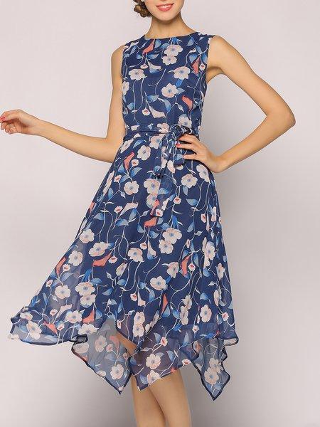 Blue Floral-print Sleeveless Midi Dress