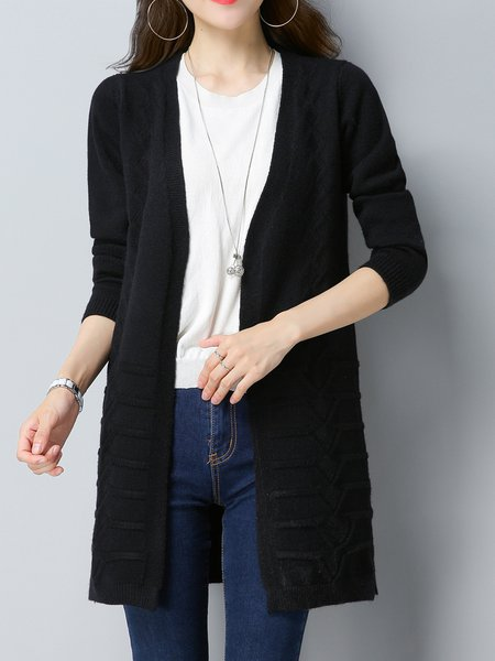 Knitted Long Sleeve Casual Zigzag Cardigan