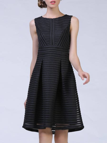 Black Mesh Sleeveless Solid Pierced Midi Dress