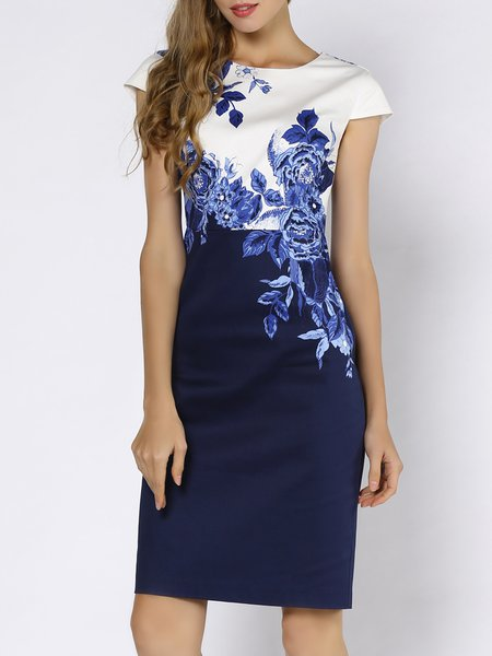Plus Size Blue Elegant Sheath Slit Crew Neck Floral-print Midi Dress