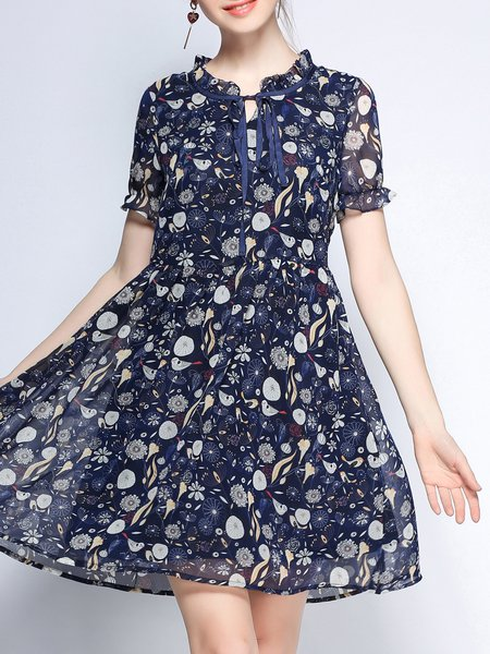 Multicolor A-line Shorts Sleeve Midi Dress