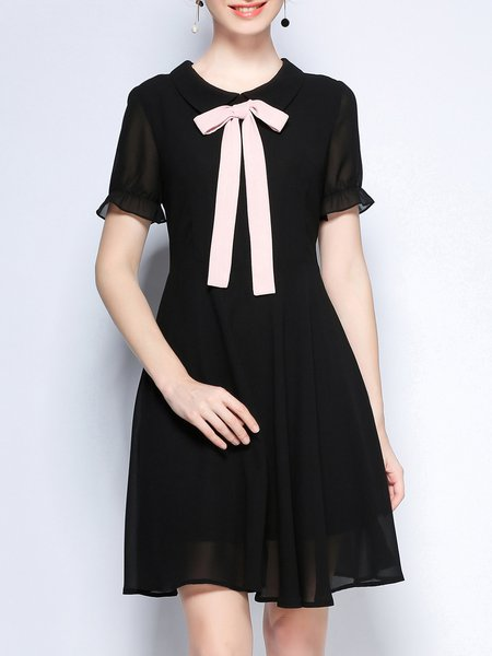 Cotton Peter Pan Collar Casual A-line Shorts Sleeve Midi Dress