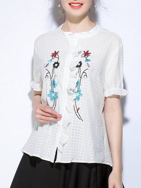Embroidered Casual Short Sleeve Blouse