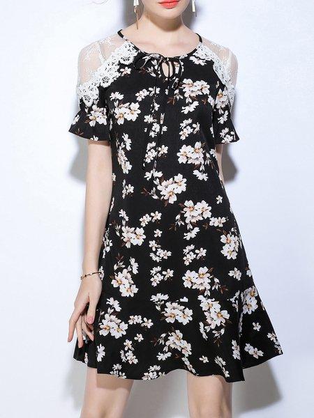Black Floral Spandex Shorts Sleeve Crew Neck Mini Dress