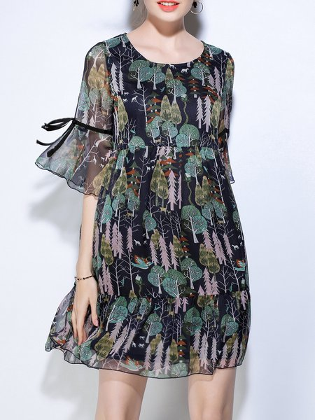 Printed Bell Sleeve Casual Crew Neck Midi Dress