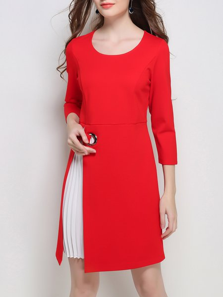 3/4 Sleeve Spandex Elegant Paneled Midi Dress