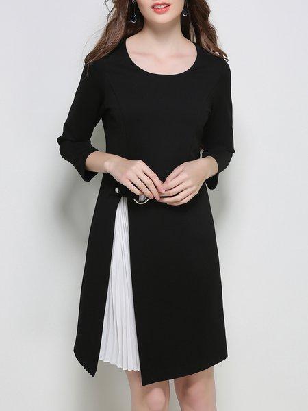 3/4 Sleeve Spandex Elegant Paneled Midi Dress