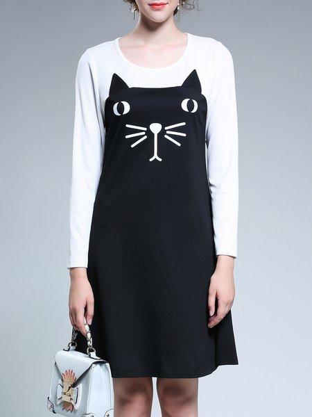 Animal Casual Long Sleeve Printed Midi Dress