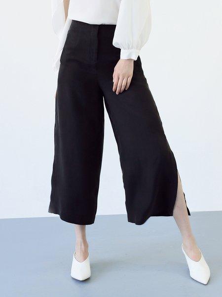 Khaki Casual Solid Cupro Slit Wide Leg Pants