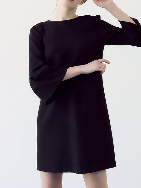 Shift Simple Bell Sleeve Mini Dress