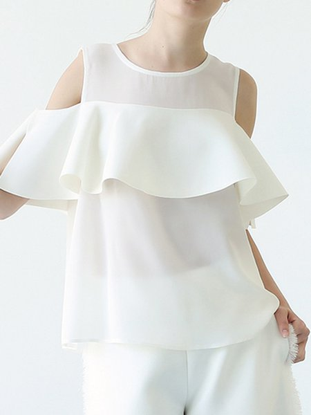 White Cold Shoulder Bow Simple Blouse