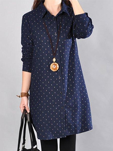 Blue Casual Shirt Collar Linen Dress