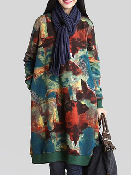 Multicolor Crew Neck Cocoon Casual Printed Linen Dress