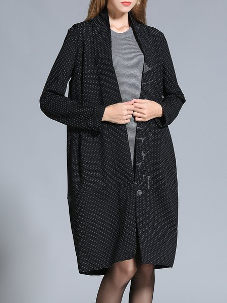 Paneled Shift Polka Dots Long Sleeve Coat