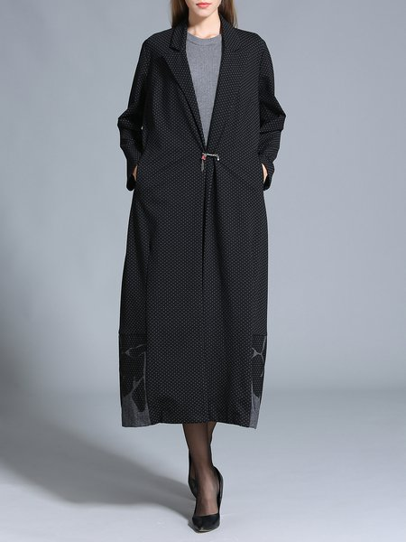 Black Paneled Long Sleeve Shift Coat