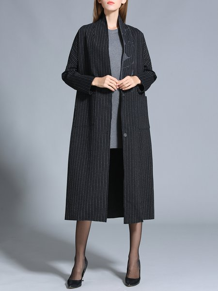 Black Shift Stripes Long Sleeve Coat