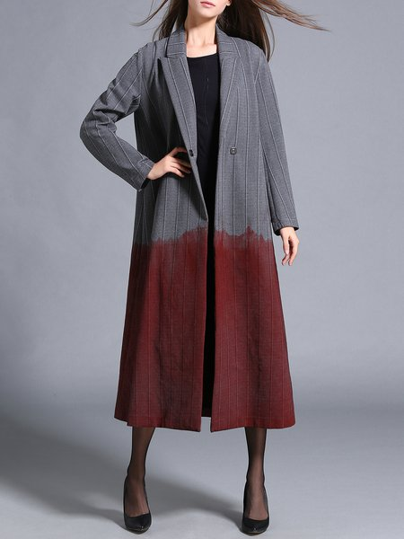 Gray Color-block Lapel Shift Long Sleeve Coat