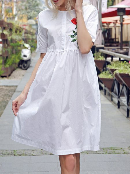 Casual Embroidered Half Sleeve Cotton Midi Dress