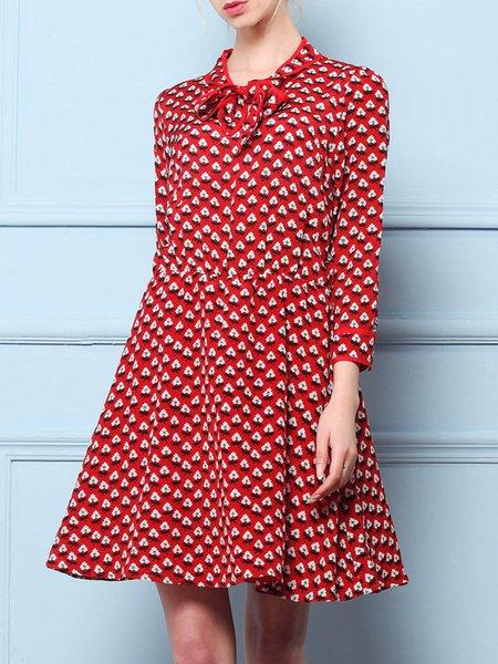 Printed Vintage 3/4 Sleeve A-line Silk Midi Dress