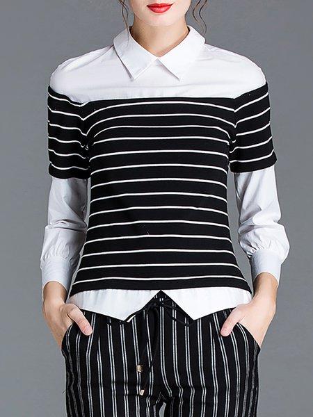 Long Sleeve Stripes Work Paneled Blouse