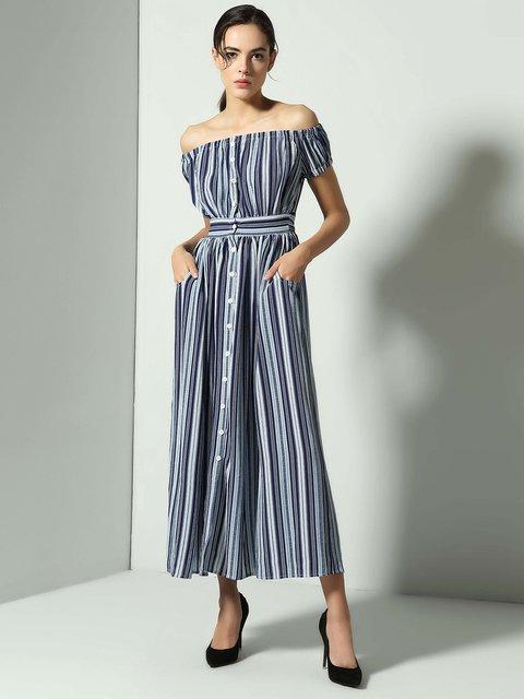 Stylewe Plus Size Blue Maxi Dress Swing Daytime Dress