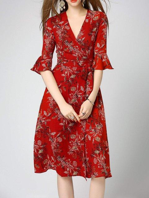 Stylewe Surplice Neck Red Midi Dress A Line Daytime Dress
